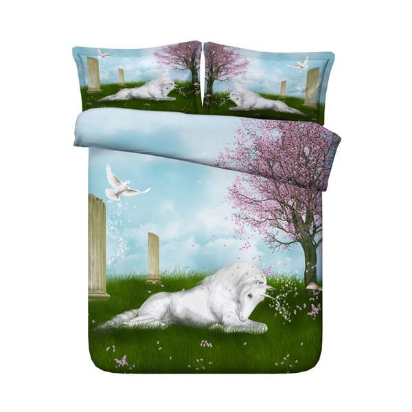 3 Piece Unicorn Girl Duvet Cover Set 1 Comforter Cover 2 Pillow Shams Floral Bird Print Pattern Girls Kids Teens Gifts NO COMFORTER