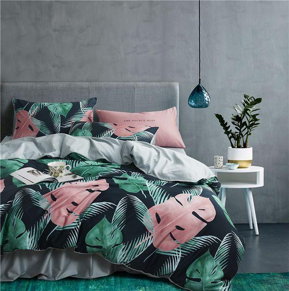 22 Colores de Lujo de Algodón Egipcio Bohemia Juego de Ropa de Cama Queen King tamaño 3d Flower Leaf imprimir Funda Nórdica Juego de sábanas de cama Funda de almohada