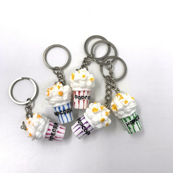 Creative resin simulation popcorn key chain simulation color food cute snacks key chain small gift bag car accessories accessories