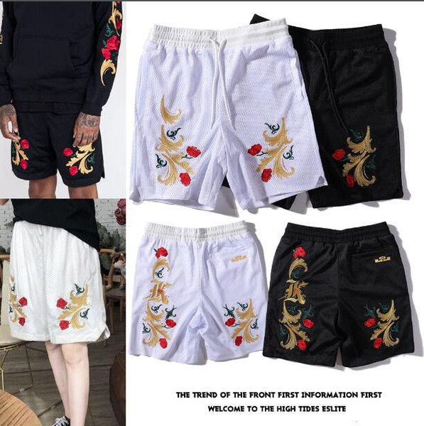 19SS Europe and the United States tide brand KiTH Le Brown James joint rework rose embroidery mesh sports shorts