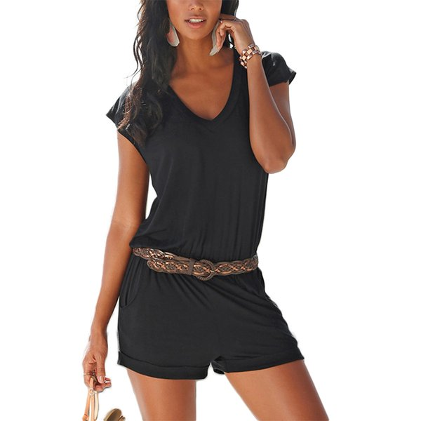 Women Casual Jumpsuit V Neck Short Sleeves Slim Fit Breathable Playsuit for Summer TS95