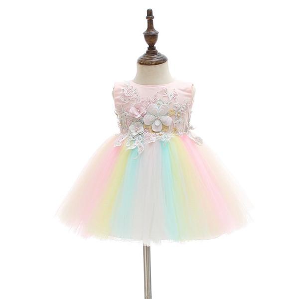 Meninas recém-nascidas Princesa Vestido de Verão Gradiente Flor Do Bebê Appliqued TUTU Vestido de Casamento Sem Mangas de Volta Arco Correia Com Zíper Malha Meninas vestido