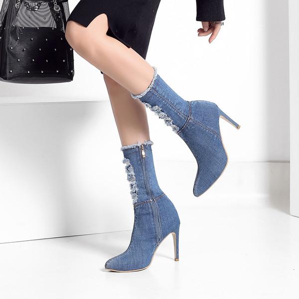 SWYIVY Femmes Mi-Mollet Bottes 2019 Nouvelle Automne Automne Talons Hauts Demin Mode Pointe Bout Toe Mince Talon Chaussures Femme Chaussette Bottes Plus La Taille 42