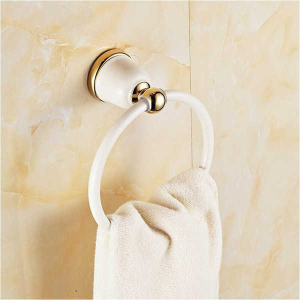best selling Modern Bathroom Towel Holder Europe Style White Baking Painting Plated Gold Copper Towel Rings Bathroom Accessories