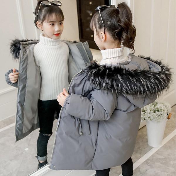 Parka quente Jaquetas Casacos Para Crianças De Pele Com Capuz Casacos Meninas Casacos Outerwear Outono Inverno Cinza Rosa Preto Crianças Roupas