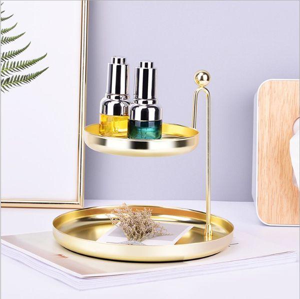 İskandinav Işık Lüks Banyo Çift Katmanlı Vanity Tepsi / Altın Metal Kozmetik Makyaj Depolama / Çarpıcı Takı Yuvarlak Organizatör Raf Tutucu Standı