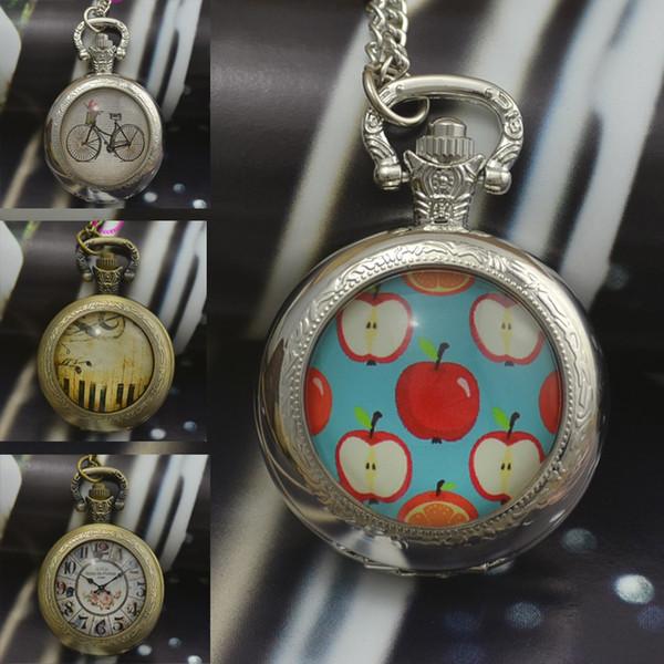convexe mode montres femme de piano horloge collier montre de poche à quartz vélo porte-ronde bronze lentille verre image dame 2016 nouveau