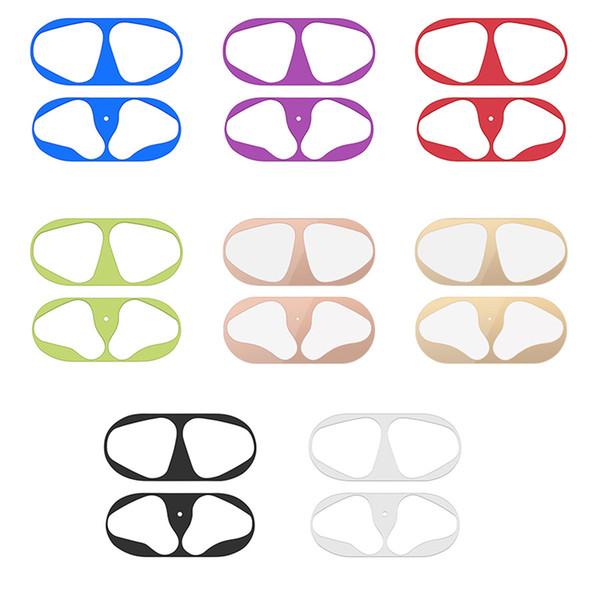 Película protectora de metal interior para Apple Airpods 2 Cubierta protectora de piel ultra fina Virutas Pegatina Protector contra el polvo