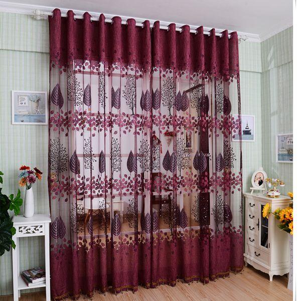 top popular 1Piece Room Divider Voile Valance Drape Tulle Curtain Sheer Window Panel Curtain Door Window Screening Decoration 2021