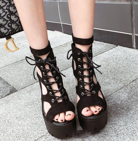 Sandali firmati Meilusi da donna per le donne di lusso nere scavano fuori le scarpe con plateau dal tacco grosso Taglia 35 A 39