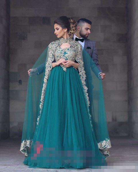 Myriam Fares 2019 Arabic Green A-Line Evening Dresses With Cape Long Train Long Sleeves Gold Embroidery Musilm Prom Party Gowns Formal Wear