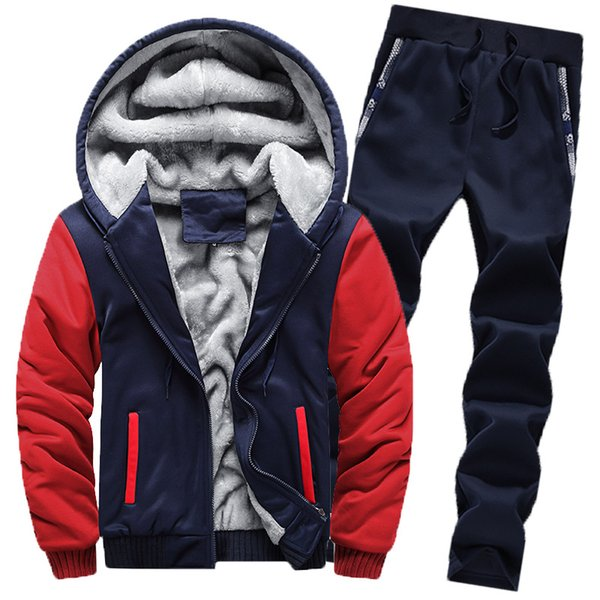 2018 Homens de Inverno Velo Set Camisola + Sweatpants 2 Peças Casuais Ternos Jogger Define Casacos masculinos SportSuit Outwear Marca jaqueta