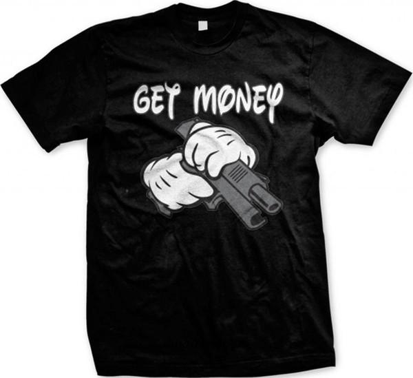 Hombres camiseta Consiga dinero Dibujos animados Manos sosteniendo una pistola Negro camisetas casuales camiseta divertida camiseta de la novedad mujeres