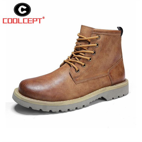 Coolcept Men Ankle Boots Lace Up Solid Color British Style Work Boots Fashion Trend Round Toe Leisure Men Footwear Size 38-44
