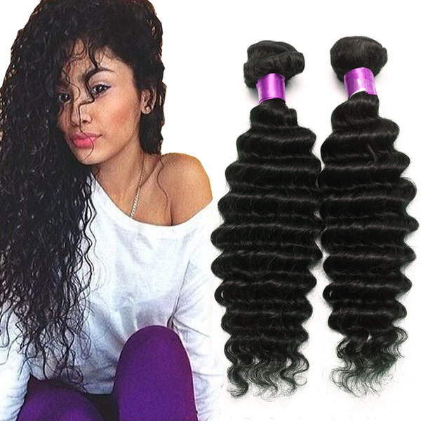 Brazilian virgin hair water wave brazilian hair deep wave weave bundle wet and wavy virgin brazilian curly 4pc lot human hair exten ion, Black