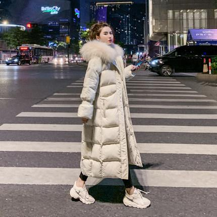 Cotton jacket 2019 new fashion wild loose coat women long paragraph over the knee winter down jacket winter black white SH190925