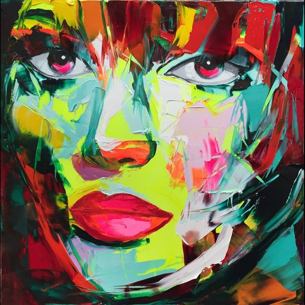 Francoise Nielly Palette Knife Impression Home Artworks Modern Portrait Handmade Oil Painting on Canvas Concave and Convex Texture Face011