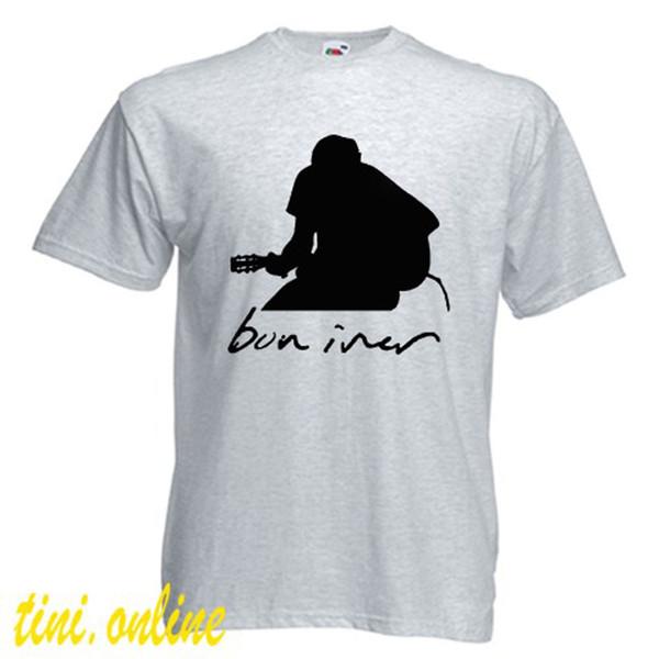 Neues BON IVER Justin Vernon Gibson Theater Music Männer Graues T-Shirt Größe S-3XL