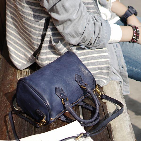 Mini Tote Bag Casual Genuine Leather Italian Designer Classic Boston Women Handbag Ladies Messenger Bag Famous Brand Bolas Blue
