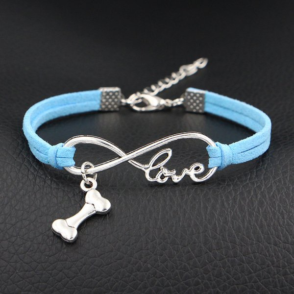 Vintage Multilayer Blue Leather Wrap Bracelets For Women Men Charm Handmade Bangles With Infinity Love Dog Bone Sign Pendant Fit Pan Jewelry