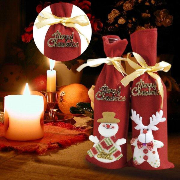 Acheter Hot Decorations De Noel Pour La Maison Du Pere Noel Bouteille De Vin Bonhomme De Neige Couverture Stocking Porte Cadeau De Noel Navidad Decor