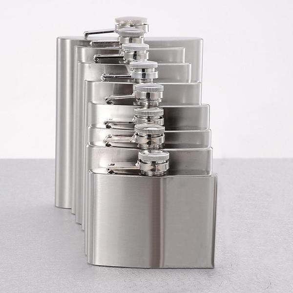 Paslanmaz Çelik 4/10/18 OZ Likör Hip Şişeler Cep Mini Hip Flask Alkol Viski Likör Vida Cap Açık Taşınabilir Şarap Şişeleri BH1322 TQQ