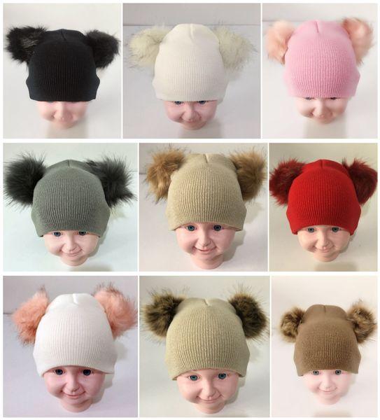 2019 INS kids baby Double Fur Ball Beanie Knit Crochet boys girls Fur Pom Ski Cap Beanies Winter Warm Pom Pom Hat Party students Hats best