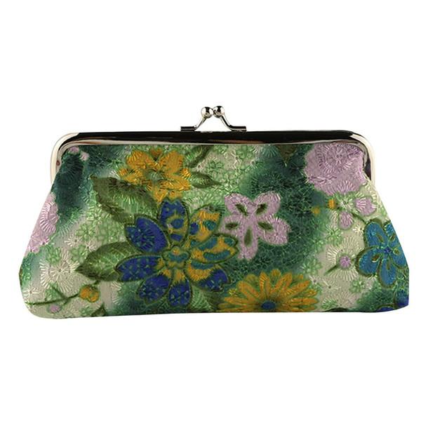 Nuevas carteras de mujer Cute Small Lady Retro Vintage Flower Small Wallet Hasp Carteras de estilo chino Mujer Carteira de alta calidad #GEX