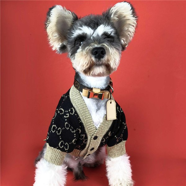 Pet Dog Knitted Sweatshirts Teddy Puppy Bulldog Apparel Autumn Winter Black Gold Cardigan Sweaters For Dog Cat