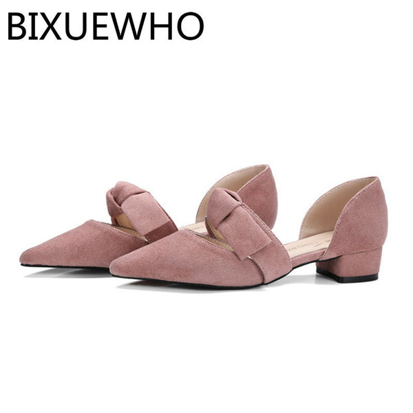Dress Shoes 2019 New Sweet Spring/autumn Female Pumps Women's Pointed Toes Square Low Heels Woman Butterfly-knot Daily Dress