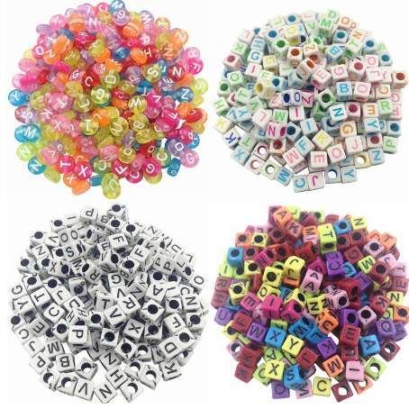 Verkauf 100 stücke Acryl Quadrat Runde Form Stil Englisch Brief Anzahl Alphabet Digital Lose Perle Für DIY Armbänder Halsketten