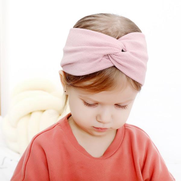Nueva venta caliente 13-puro algodón de color hairband elástico niños Joker tocado de Europa y Estados Unidos bebé cintas para el pelo suave