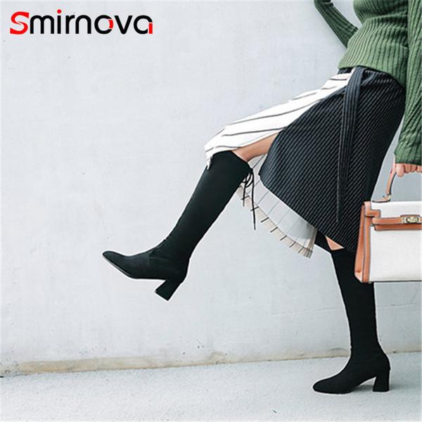 Smirnova TOP Art und Weise Bowtie kniehohe Stiefel 2020 eleganter spitze Zehe Stiefel für Frau Herbst Winter große Größe lang Damen