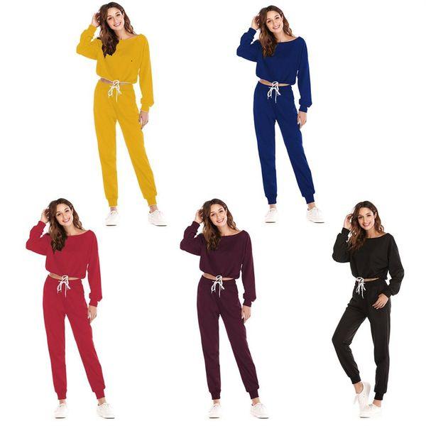 Mujeres holgadas trajes de running Suave transpirable Jogging trajes de ropa deportiva Mujer Gimnasio Fitness Chándales Pantalones + Manga larga ropa de yoga # 704555