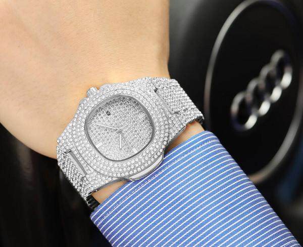 Orologio di lusso di lusso del nuovo modello di modo delle donne degli uomini delle donne degli uomini del diamante pieno guarda il commercio all'ingrosso libero di trasporto di alta qualità