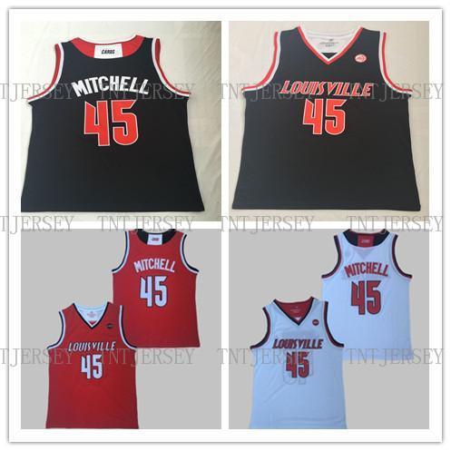 Донован Митчелл Луисвилл NCAA Сшитые Баскетбол Джерси Размер S-XXL Бесплатная Доставка