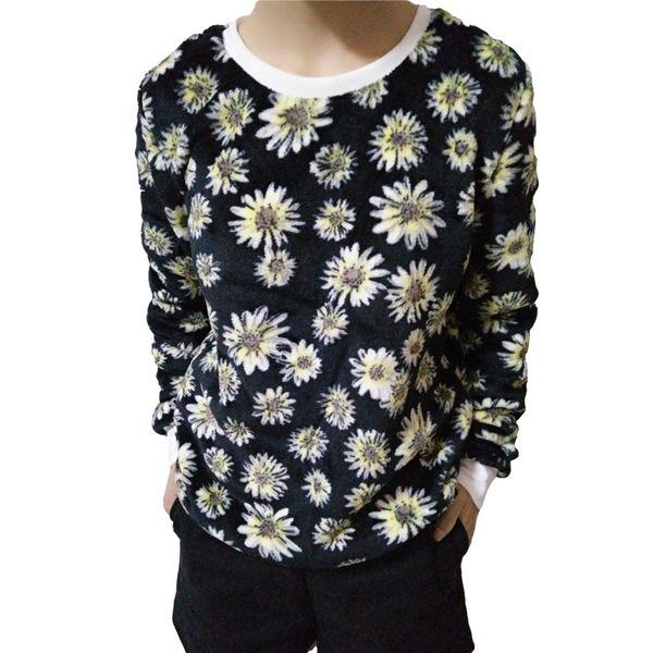 Autumn Winter Keep Warm High Quality Flannel Pullover Fashion Daisy Harajuku Hoodies Sweatshirt For Women Black Tops Girl