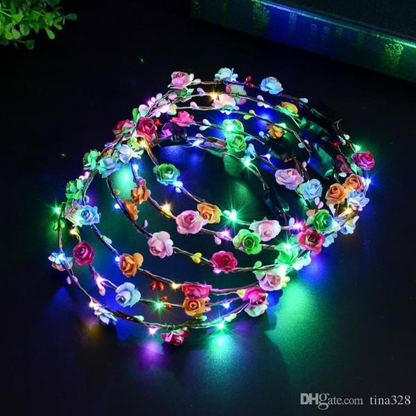 Multicolor Luminoso Headwear Flor De Ratán Guirnalda Que Brilla Intensamente LED Banda Para La Fiesta de Boda Decoración Para Las Mujeres Niñas Mascarada T2I336