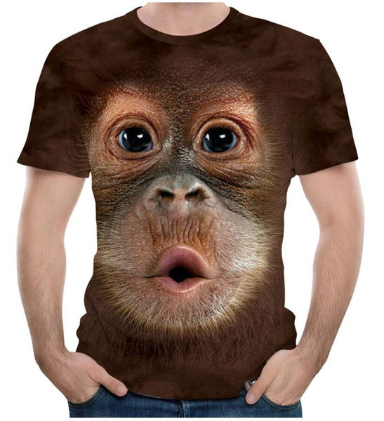 2018 Men's T Shirt 3D Printed Animal Monkey Tshirt Short Sleeve Funny Design Casual Tops Tees Male Summer T-shirt US Size S-3XL