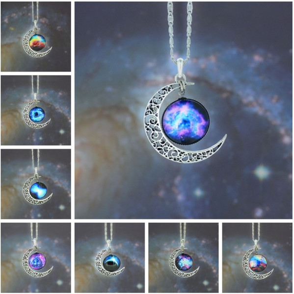 best selling New Vintage starry Moon Outer space Universe Gemstone Pendant Necklaces Mix Models free shipping