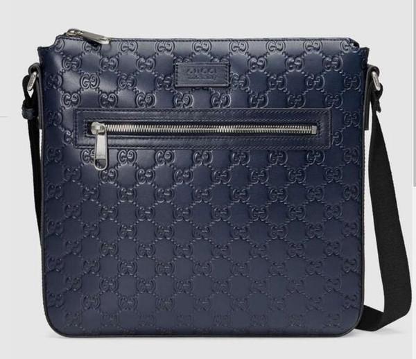 Signature leather messenger 406408 Men Messenger Bags Shoulder Belt Bag Totes Portfolio Briefcases