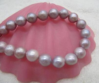 Neue Halskette +++ wunderschöne Barock11-12mm Südsee Lila Perlenkette 18inch