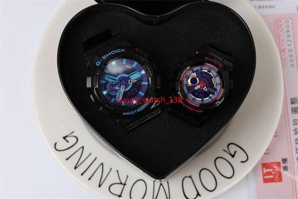 Coppia orologio regalo di Natale AA3A alta qualità tutte le funzioni con orologio sportivo resistente all'acqua con scatola cuore per amante per la famiglia g110
