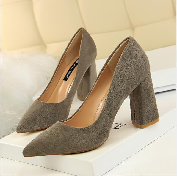 Fashion Womens Pointed Toe Chunky High Heels Brand Designer Ladies Sexy Suede Office Party Court Pumps Shoes 8.5cm Wedding Dress Shoes New
