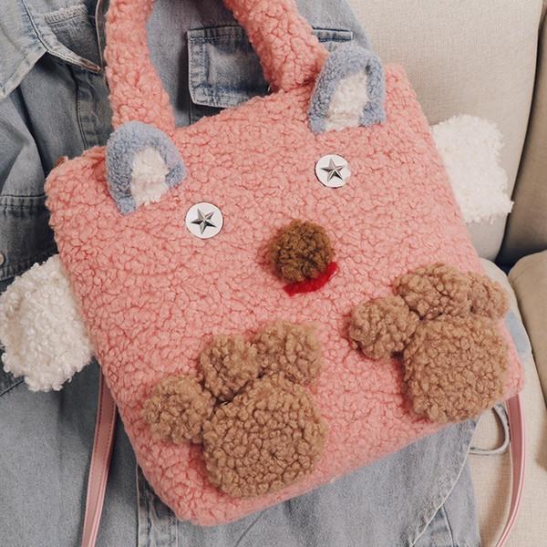 NOUVEAU Cartoon mignon Femmes Bucket Sac laine d'agneau sac à bandoulière sac à main et sac à main Marque Stylisme Sacs dames luxe Sacs 2019