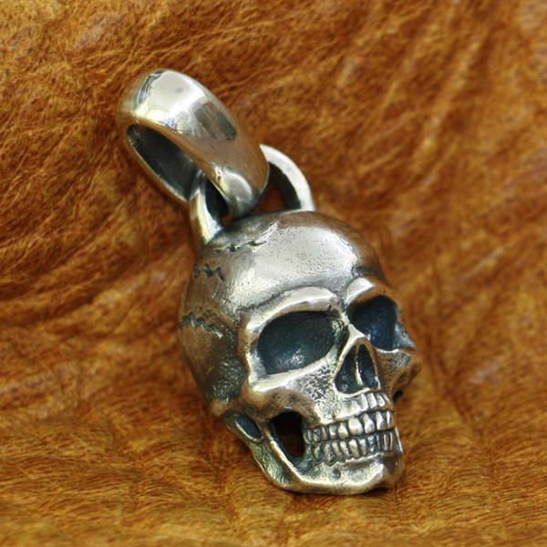 LINSION 925 detalles Cráneo de plata colgante para hombre del motorista del punk rock colgante TA181 JP