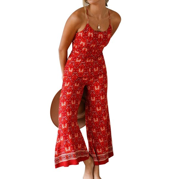 Summer New Bodycon Jumpsuit Women Bohemia Style Wide Leg Pants Strap Jumpsuit Casual Backless Floral Print Romper