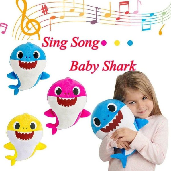 30CM Baby Shark Plush Toys with Music English Singing Cartoon Stuffed Lovely Animal Soft Doll Toy Party Favor AAA1909