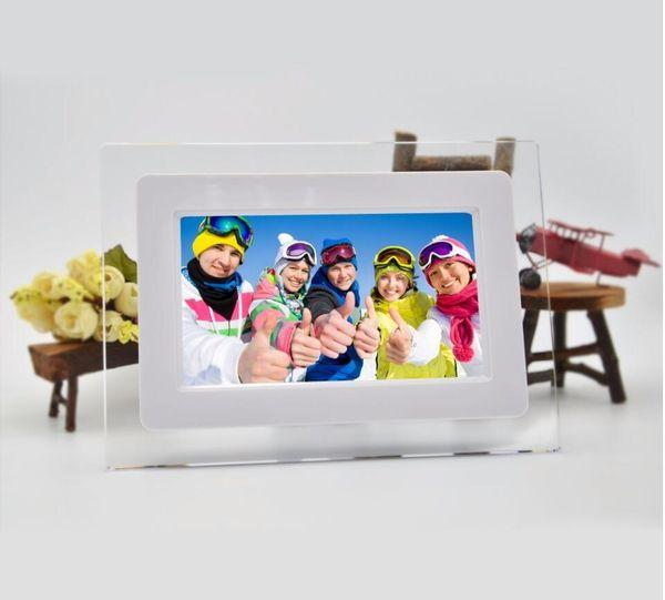 7 inch TFT LCD Wide Screen Desktop Digital Photo Frame glass Photo Frame white
