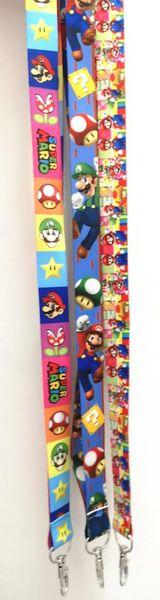 5pcs/10pcs/20pcs/50pcs/100pcs new Super Mario cartoon lanyard Neck Strap Lanyard Mobile Phone Key Chain ID Badge Key Chain